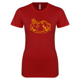 Next Level Ladies SoftStyle Junior Fitted Cardinal Tee-Stag and Athena Logo
