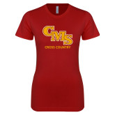 Next Level Ladies SoftStyle Junior Fitted Cardinal Tee-CMS Cross Country