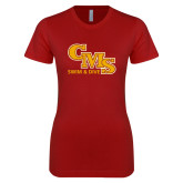 Next Level Ladies SoftStyle Junior Fitted Cardinal Tee-CMS Swim and Dive