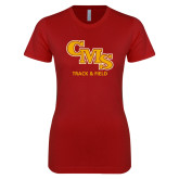 Next Level Ladies SoftStyle Junior Fitted Cardinal Tee-CMS Track and Field