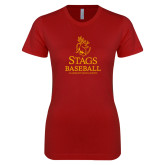 Next Level Ladies SoftStyle Junior Fitted Cardinal Tee-Stags Baseball