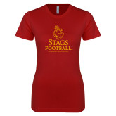 Next Level Ladies SoftStyle Junior Fitted Cardinal Tee-Stags Football