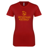 Next Level Ladies SoftStyle Junior Fitted Cardinal Tee-Athenas Softball