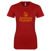 Next Level Ladies SoftStyle Junior Fitted Cardinal Tee-Athenas Volleyball