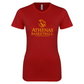Next Level Ladies SoftStyle Junior Fitted Cardinal Tee-Athenas Basketball