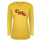 Ladies Syntrel Performance Gold Longsleeve Shirt-CMS Stacked