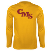 Performance Gold Longsleeve Shirt-CMS Stacked