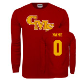 Cardinal Long Sleeve T Shirt-CMS Stacked, Custom tee w/ name and #