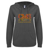 ENZA Ladies Dark Heather V Notch Raw Edge Fleece Hoodie-CMS Logo
