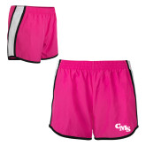 Ladies Fuchsia/White Team Short-CMS Stacked