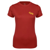 Ladies Syntrel Performance Cardinal Tee-CMS Stacked