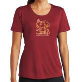 Ladies Syntrel Performance Cardinal Tee-CMS Mascots