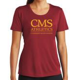 Ladies Syntrel Performance Cardinal Tee-CMS Logo