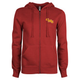 ENZA Ladies Cardinal Fleece Full Zip Hoodie-CMS Stacked