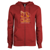 ENZA Ladies Cardinal Fleece Full Zip Hoodie-CMS Mascots