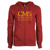 ENZA Ladies Cardinal Fleece Full Zip Hoodie-CMS Logo
