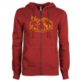 ENZA Ladies Cardinal Fleece Full Zip Hoodie-Stag and Athena Logo