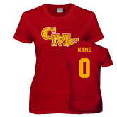 Ladies Cardinal T Shirt-CMS Stacked, Custom tee w/ name and #