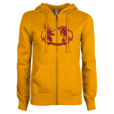 ENZA Ladies Gold Fleece Full Zip Hoodie-Stag and Athena Logo