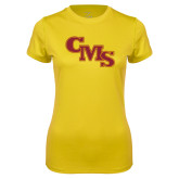 Ladies Syntrel Performance Gold Tee-CMS Stacked