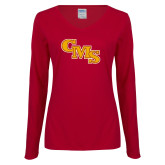 Ladies Cardinal Long Sleeve V Neck Tee-CMS Stacked