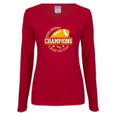 Ladies Cardinal Long Sleeve V Neck Tee-2018 SCIAC Football Champions