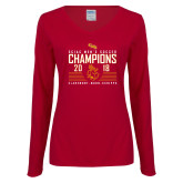 Ladies Cardinal Long Sleeve V Neck Tee-2018 SCIAC Mens Soccer Champions