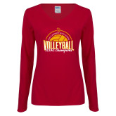 Ladies Cardinal Long Sleeve V Neck Tee-2018 SCIAC Volleyball Champions
