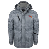 Grey Brushstroke Print Insulated Jacket-CMS Stacked