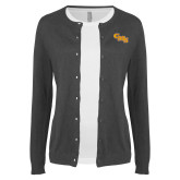 Ladies Charcoal Cardigan-CMS Stacked