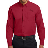 Cardinal Twill Button Down Long Sleeve-CMS Stacked