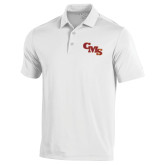 Under Armour White Performance Polo-CMS Stacked