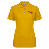 Ladies Easycare Gold Pique Polo-CMS Stacked
