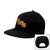 Black Flat Bill Snapback Hat-CMS Stacked