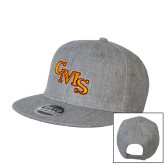 Heather Grey Wool Blend Flat Bill Snapback Hat-CMS Stacked