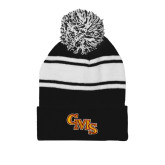 Black/White Two Tone Knit Pom Beanie w/Cuff-CMS Stacked