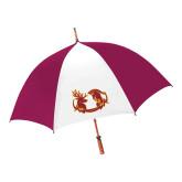 62 Inch Cardinal/White Umbrella-Stag and Athena Logo