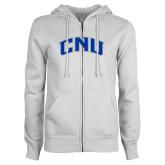 ENZA Ladies White Fleece Full Zip Hoodie-Arched CNU