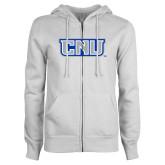 ENZA Ladies White Fleece Full Zip Hoodie-CNU