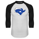 White/Black Raglan Baseball T-Shirt-Captain Head
