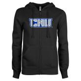ENZA Ladies Black Fleece Full Zip Hoodie-CNU