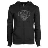ENZA Ladies Black Fleece Full Zip Hoodie-Official Logo Graphite Glitter
