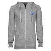 ENZA Ladies Grey/Black Marled Full Zip Hoodie-Official Logo