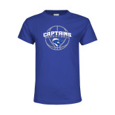 Youth Royal T Shirt-Captains Basketball Arched w/ Ball