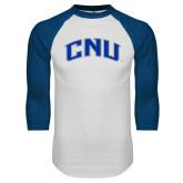 White/Royal Raglan Baseball T Shirt-Arched CNU