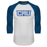 White/Royal Raglan Baseball T Shirt-CNU