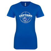 Next Level Ladies SoftStyle Junior Fitted Royal Tee-Captains Basketball Arched w/ Ball
