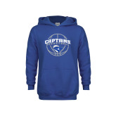 Youth Royal Fleece Hoodie-Captains Basketball Arched w/ Ball