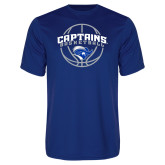 Performance Royal Tee-Captains Basketball Arched w/ Ball