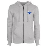 ENZA Ladies Grey Fleece Full Zip Hoodie-Captain Head